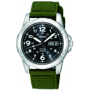 Seiko Solar Gents Military Strap Watch SNE095P2